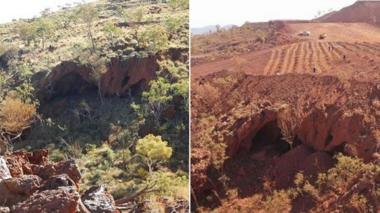 Juukan Gorge cave sites, seen before and after the destruction