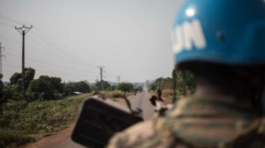 UN troops on the road to Damara, where skirmishes took place, on January 23, 2021