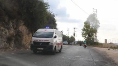 An ambulance drives through the village of Ain Qana, in Lebanon (22 September 2020)