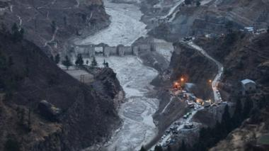 A general view of the damaged Dhauliganga hydro power project in Chamoli district, Uttarakhand, India, 09 February 2021
