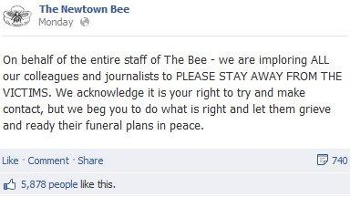 Facebook posting from the Newtown Bee