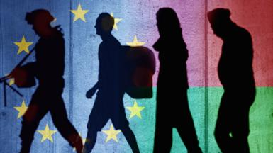 Artwork of three migrants and a soldier, with EU and Belarus flags behind