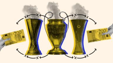 Graphic showing the three major European trophies and signalling the emissions produced as a result of them, along with two hands holding 200euros notes
