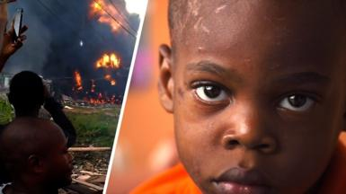 Graphic of a boy's face and the fire