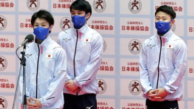 Members of Japan's gymnastics team at qualifying event.