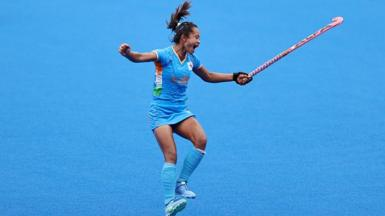 Chanu Pukhrambam Sushila of Team India celebrates their 1-0 win after the Women's Quarterfinal match between Australia and India on day ten of the Tokyo 2020 Olympic Games at Oi Hockey Stadium on August 02, 2021 in Tokyo, Japan.