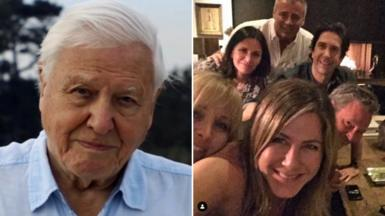 Sir David Attenborough and Jennifer Aniston on Instagram