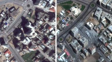 Left: Google Earth image of Gaza in 2016; right: Maxar image captured 12 May 2021