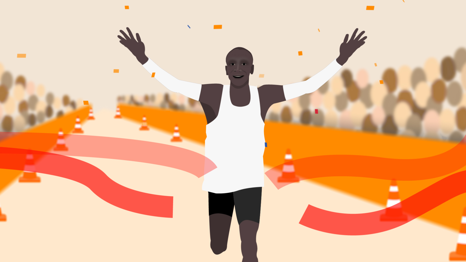 An illustration of long-distance runner Eliud Kipchoge