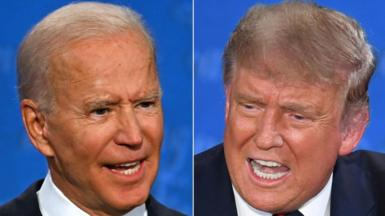 Donald Trump and Joe Biden in the first presidential debate