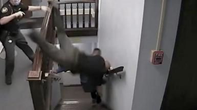 A deputy goes down the stairs head first trying to catch the defendant