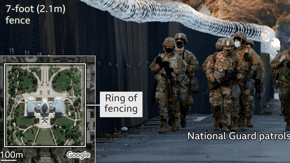 Graphic showing the 'non-scalable' fence and a National Guard patrol