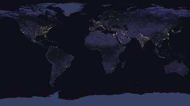 The Earth by night from Space - a compound image (c) NASA
