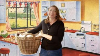 Woman holding washing basket