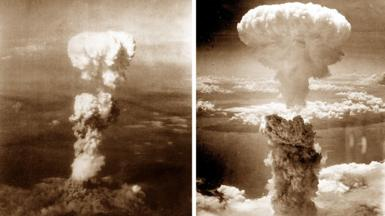 Two photos showing the mushroom clouds over Hiroshima and Nagasaki