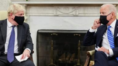 US President Joe Biden and British Prime Minister Boris Johnson hold a bilateral meeting in the Oval Office
