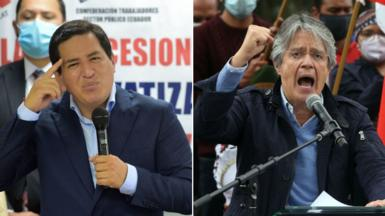 Andrés Arauz, left, and Guillermo Lasso, right