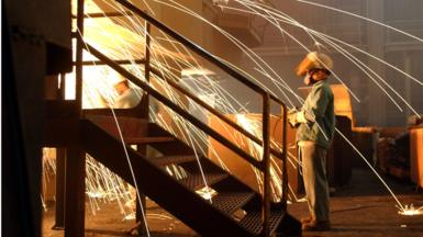 Sparks flying at a steel factory