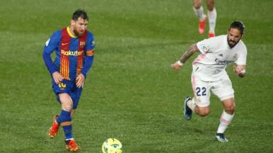 Lionel Messi of Barcelona in action against Real Madrid.