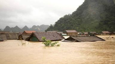 Homes in Quang Binh province have been submerged by floodwaters