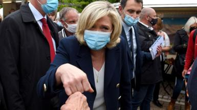 President of French far-right party of the National Rally Marine Le Pen on the campaign trail