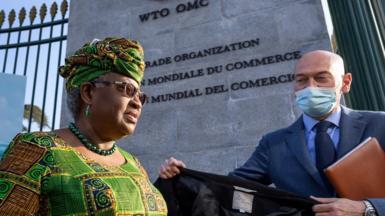 Ngozi Okonjo-Iweala at the entrance to the WTO in Geneva, 1 March