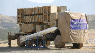 An undated handout picture made available by the Iranian defence ministry shows a new surface-to-air (SAM) missile battery in Okhordad, Iran (9 June 2019)