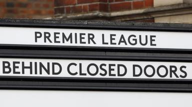 A sign at Fulham's Craven Cottage stadium indicating the next Premier League game will be played behind closed doors