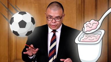 Prof Jonathan Van-Tam with a cartoon football and yoghurt