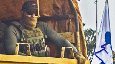 Russian soldier seen in a military vehicle in the Central African Republic - January 2021