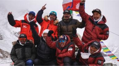 The team of Nepalese climbers who made history by climbing to the K2 summit in winter for the first time.