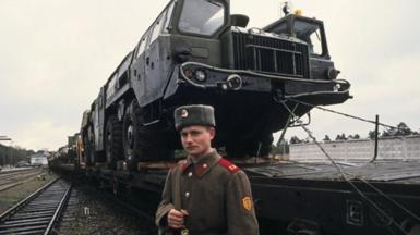 Soviet soldier departing Borne Sulinowo