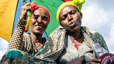 Women selling spices Chencha market southern Ethiopia