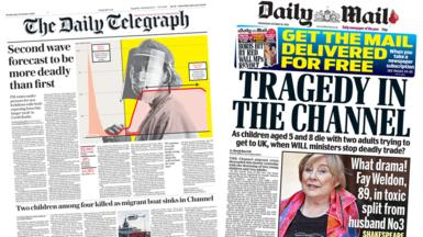 Daily Telegraph n' Daily Mail front pages