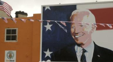 A mural of Joe Biden in the town of Ballina