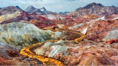 Multi-coloured soil on Hormuz Island, south Iran