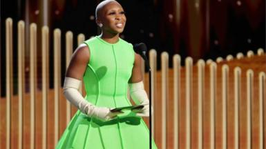 Cynthia Erivo presents an award at the Golden Globe Awards in Beverly Hills, February 28, 2021