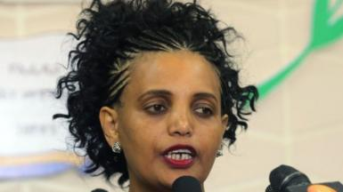 Birtukan Mideksa speaks to media after the handover ceremony at the Parliament in Addis Ababa, Ethiopia on November 22, 2018