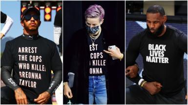 Collage pic of Lewis Hamilton, Megan Rapinoe and LeBron James
