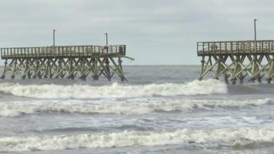 Iasias knocked part of a South Carolina pier collapsed into the ocean.