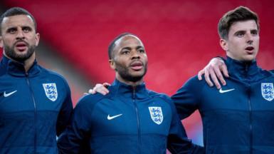 Kyle Walker, Raheem Sterling and Mason Mount at Euro 2020 final