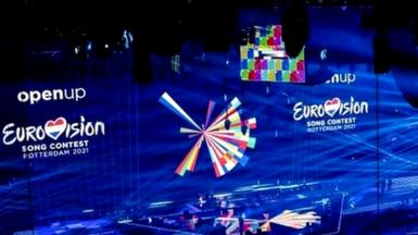 Workers prepare The Ahoy Stadium in Rotterdam on April 22, 2021, ahead of the semi-finals and finals of The Eurovision Song Contest scheduled to take place on May 18-22