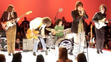 The Strokes played songs from Is This IT at MTV2's $2 Bill gig at Hollywood Center Studios in Los Angeles in 2002