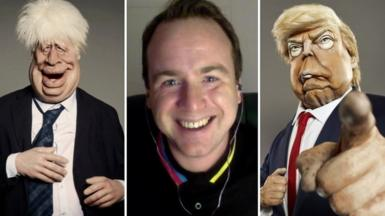 Composite image of impressionist Matt Forde and Spitting Image puppets of Boris Johnson and Donald Trump
