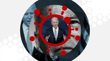 Joe Biden and a coronavirus symbol
