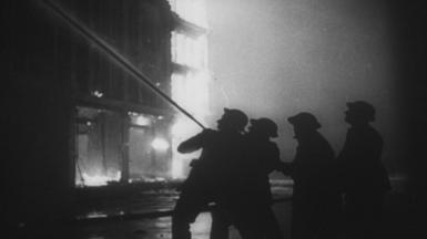 Firefighters were filmed tackling the blaze in May 1941