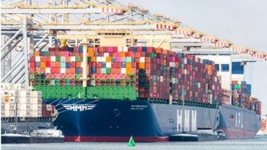 The largest container vessel in the world, the HMM Algeciras is moored at the Amaliaport of Rotterdam on June 3, 2020 in Rotterdam, The Netherlands.