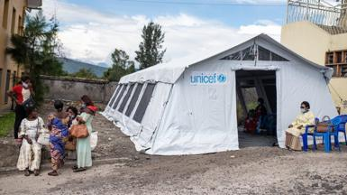 A vaccine tent run by Unicef has been set up in the grounds of a Goma hospital