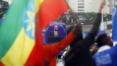 Supporters attend Prosperity Party's election campaign rally ahead of the upcoming June 5 general election, in Addis Ababa, Ethiopia on May 07, 2021.
