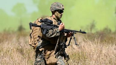 A US Marine from MRF-D (Marine Rotaional Force Darwin) participates in an Urban assault as part of Exercise 'Talisman Sabre 21' on July 27, 2021 in Townsville, Australia.